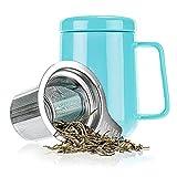 Tealyra Peak Ceramic Tea Mug with Stainless Steel Infuser and Lid, 16-Ounce - Turquoise