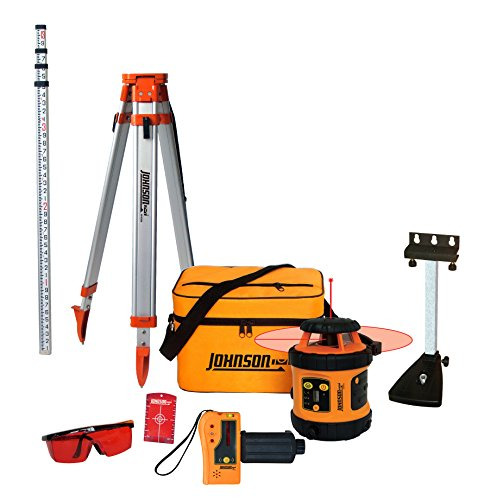 Johnson Level & Tool 99-006K Self Leveling Rotary Laser System Kit, Soft Shell Carrying Case, Alkaline Battery, Tripod, Mounting Bracket, 13ft Grade Rod, Magnetic Target, Protective Glasses (Best Laser Level For Grading)