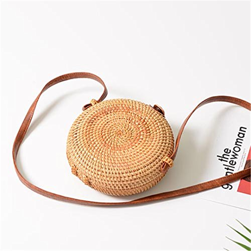Island Man Wicker (Bali Island Handmade Wicker Bag Women Round Rattan Straw Bag Lady Square Buckle Straw Handbag Female Crossbody Beach Rattan Bags Round)