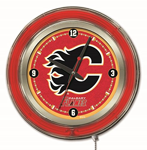 Holland Bar Stool Co. Calgary Flames HBS Neon Red Hockey Battery Powered Wall Clock (15