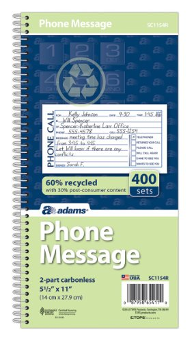 Adams Recycled Phone Message Book, 2-Part Carbonless, 4 Messages per Page, 400 Sets/Book (SC1154R) (Adams Message Book)