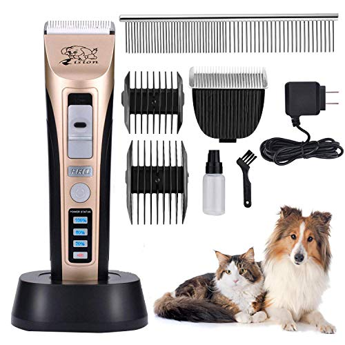 Rision Pet Clippers, Low Noise Rechargeable Cordless Dog Trimmers Professional Animal Grooming Shavers for Thick Hair Dogs, Cats, Rabbits and Horses ()