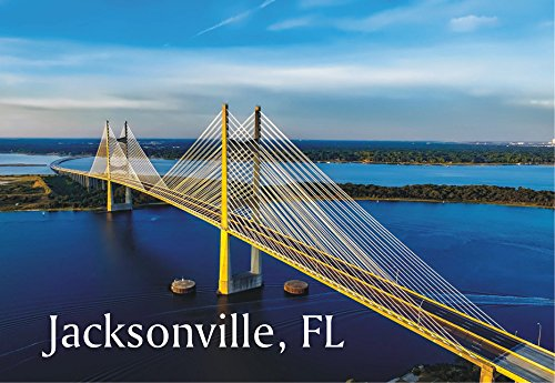 Dames Point Bridge, St. Johns River, Jacksonville, Florida, FL, Souvenir, Travel, Locker Magnet 2 x 3 Fridge - Florida St Jacksonville Johns