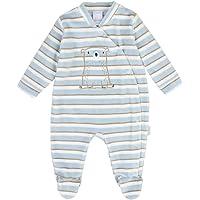 Newborn Baby Niño Mameluco, Blanco, Azul, Estriado
