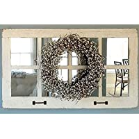 Window Pane Mirror, Large Rectangle Rustic Farmhouse Wall Decor, 37.5 X 21.75 Inch Reclaimed Barn Wood Homesteader Style Decorative Multi Frame Old Country Over Mantle Mirror