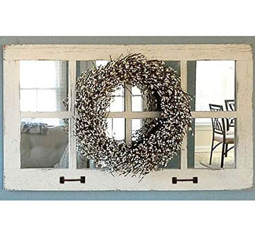 Amazon Com Window Pane Mirror Large Rectangle Rustic Farmhouse Wall Decor 37 5 X 21 75 Inch Reclaimed Barn Wood Homesteader Style Decorative Multi Frame Old Country Over Mantle Mirror Handmade