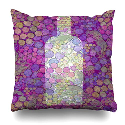 Ahawoso Throw Pillow Cover Vin Wine Grapes Liquor Bottle Abstract Painting for French Labels Note Winery Food Drink Design Home Decor Cushion Case Square Size 18 x 18 Inches Zippered Pillowcase