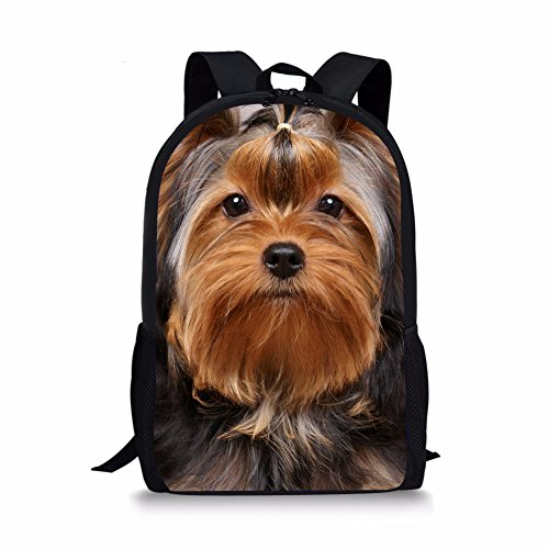 Pets Yorkshire Terriers - Coloranimal Lovely Yorkshire Terrier Pet Dog 3D Printing Backpack for Kids School Packs