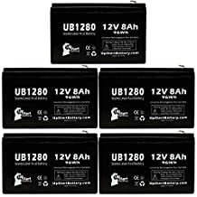 5x Pack - APC BACK-UPS CS 500 BK500 Battery - Replacement UB1280 Universal Sealed Lead Acid Battery (12V, 8Ah, 8000mAh, F1 Terminal, AGM, SLA) - Includes 10 F1 to F2 Terminal Adapters