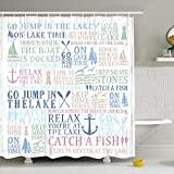 Lake Time Shower Curtain Lake Words Bathroom Shower Curtain Durable Oxford Fabric Bath Curtain for Kitchen Window Curtain with 12 Hooks