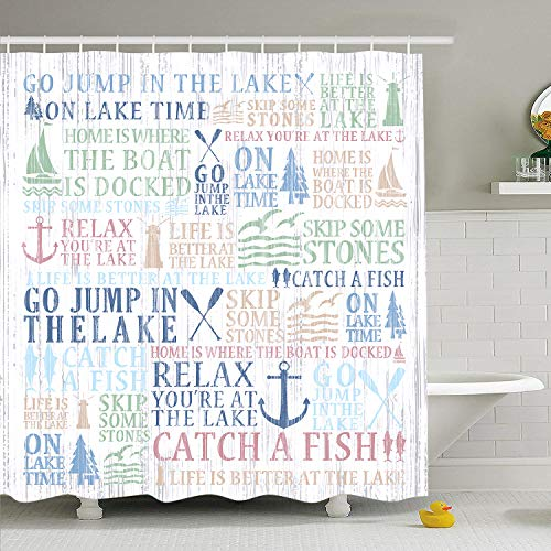 Lake Time Shower Curtain Lake Words Bathroom Shower Curtain Durable Oxford Fabric Bath Curtain for Kitchen Window Curtain with 12 Hooks ()