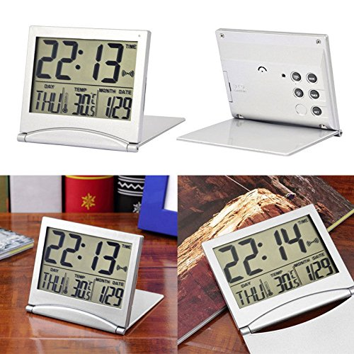 MAZIMARK--New Desk Digital LCD Thermometer Calendar Alarm Clock Flexible Cover
