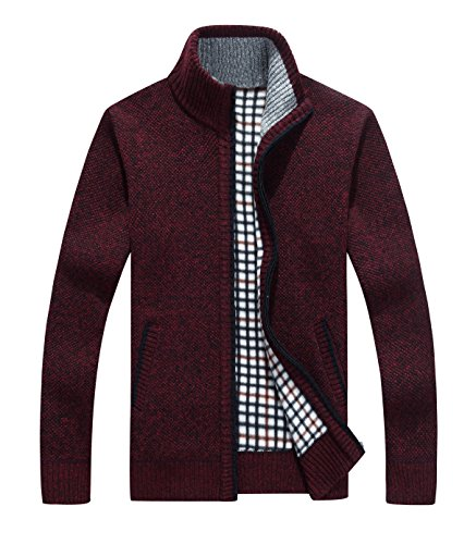 Yeokou Men's Casual Slim Full Zip Thick Knitted Cardigan Sweaters with Pockets (X-Large,Wine (Zip Cardigan)