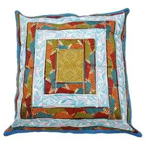 "Cojín azul de la cubierta tradicional bordados Home Décor Patchwork Pillow Case Art India Regalo 17 pulgadas """