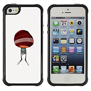 All-Round Hybrid Rubber Case Hard Cover Protective Accessory Compatible with Apple iPhone 5 & 5S - abstract minimalist kid cute