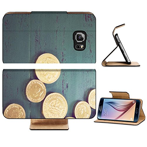 Luxlady Premium Samsung Galaxy S6 Edge Flip Pu Leather Wallet Case IMAGE 36455373 Happy St Patricks Day leprechaun hat with gold chocolate coins on vintage