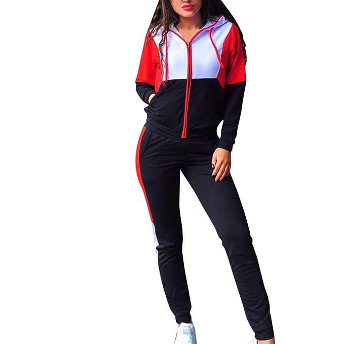 Ropa Deportiva Abrigos Mujer Invierno Sudadera con Capucha Primavera POLP Casual Cremallera Manga Larga Pullove Sport Tops + Pantalones Largos Conjunto ...