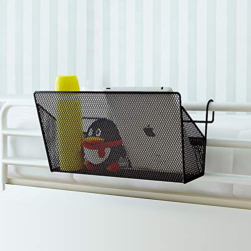 SSAWcasa Bedside Hanging Storage Basket,2 Pack Mesh Hanging Organizer Caddy for Bunk Bed or Dorm Room,Black Office Desk Table Dormitory Bedside Corner Shelves Holder for Book Phone Magazine ()