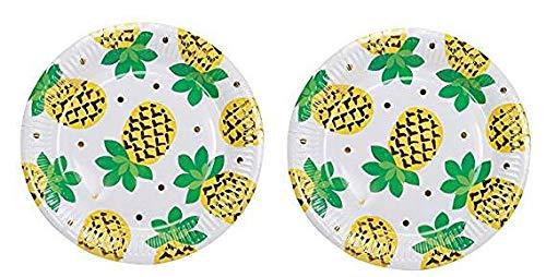 mejor calidad mejor precio 2-(Pack) Geeklife platos de papel dorados brillantes, platos de de de postre de papel de piña dorados, platos de frutas de 9 pulgadas, juego de platos de fiesta decorativos de oro noble, 20 unidades 2-(Pack)  lo último