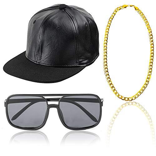 Beelittle 80S 90S Hip Hop Costume Baseball Hat Rapper DJ Sunglasses Gold Plated Chain -