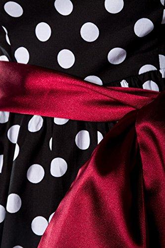 Rockabilly L schwarz Star weiß Kleid rot Chic HYwZq6x5w