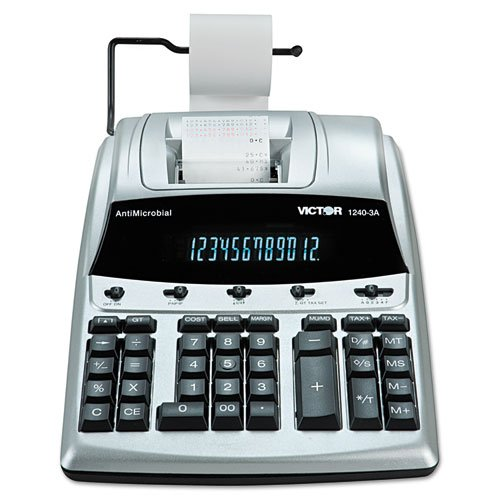 Victor 1240-3A 12 Digit Heavy Duty Commercial Printing Calculator with Built-in Antimicrobial Protection by Victor Technology