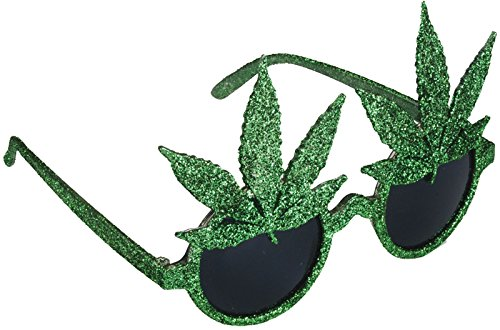Star Power Glitter Pot Leaf Round Lens Sunglasses, Green, One Size