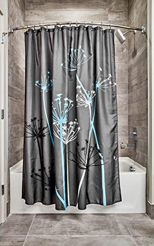 InterDesign Thistle Fabric Shower Curtain, Modern Mildew-Resistant Bath Liner for Master Bathroom, Kid's Bathroom, Guest Bathroom, 72 x 72 Inches, Gray and Blue (Shower Curtain Teal Grey)