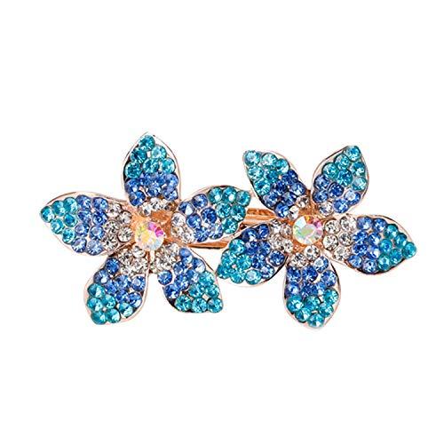- AMBER DAVIDSON Exquisite Princess Blue Rhinestone Flower Spring Hairpin Hair Clip Wedding Bridal Headwear Accessories Women,C