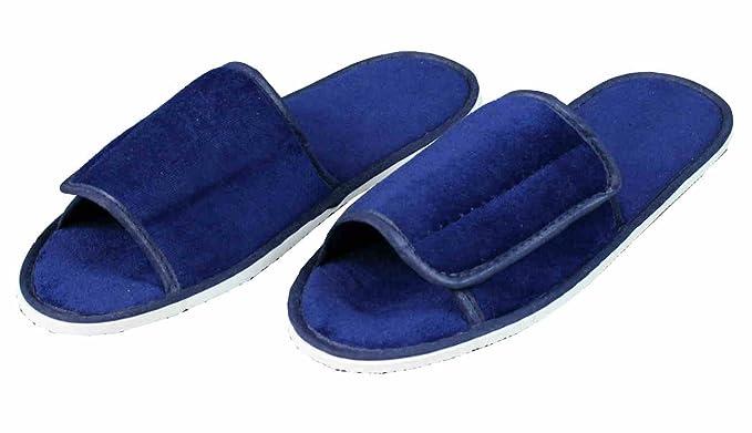 1945212217 S.B.J - Sportland Hochwertige Frottee Slipper blau mit Klettverschluß,  Schuhe/Hausschuhe / Pantoletten/Hotelslipper / Badeschuhe: Amazon.de: Sport  & ...
