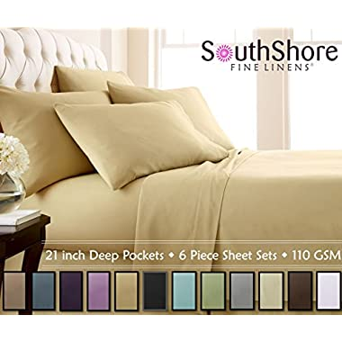 Southshore Fine Linens® - 6 Piece - 21 Inch - Extra Deep Pocket Sheet Set (Queen, Gold)