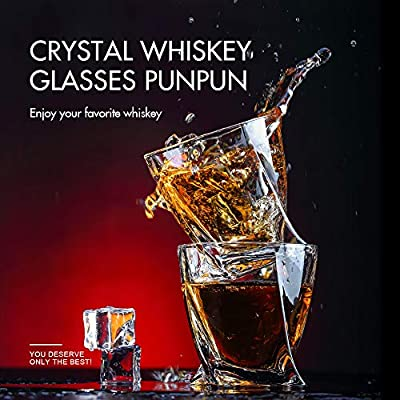 PunPun Crystal Whiskey Glass set of 2 for Bourbon or Scotch with Handmade Lead Free,FDA approved,-Twisted shaped old fashioned whiskey glasses,300ml 10oz.+2 pcs free stainless steel ice cubes
