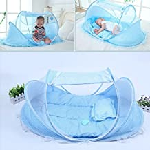 BingHang Baby Travel Bed,Infant Baby Bed Portable Mosquito Net Folding Baby Crib Netting Summer Autumn Portable Baby Cots Newborn Foldable Crib Net with Summer Sleeping Mat and Music Pack (blue)