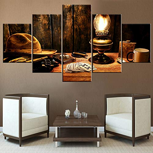 - TUMOVO Wall Pictures Light and Water Cup Paintings for Living Room 5 Panel Retro Canvas Wall Art Playing Cards Artwork Modern Home Decor Wooden Framed Ready to Hang Posters and Prints(60''Wx32''H)