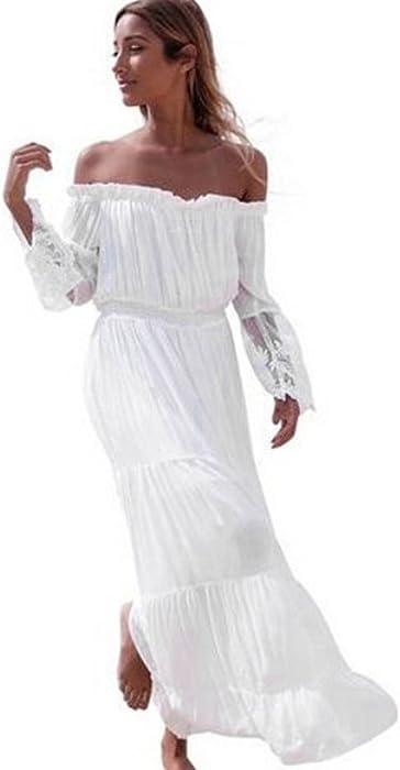 2492da1d50 Damark(TM) Vestidos Mujer Casual Vestido de Verano Largo Maxi Falda Mujer  Elegante Boda Playa Fiesta Noche Mujer Boho Vestido de Noche Maxi Playa  Sundress- ...