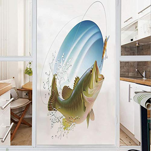 Decorative Window Film,No Glue Frosted Privacy Film,Stained Glass Door Film,Largemouth Sea Bass Catching a Bite in Water Spray Motion Splash Wild Image,for Home & Office,23.6In. by 78.7In Green Blue