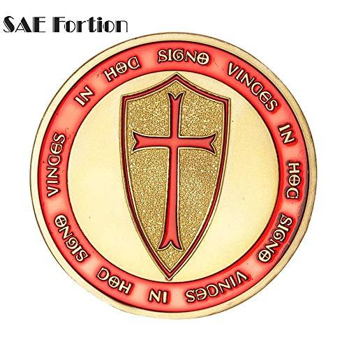 STAR-FIVE-STORE - Masonic Knights Templar Coin Free Masonic Red Cross Sheild Token Souvenir Coin BTC514