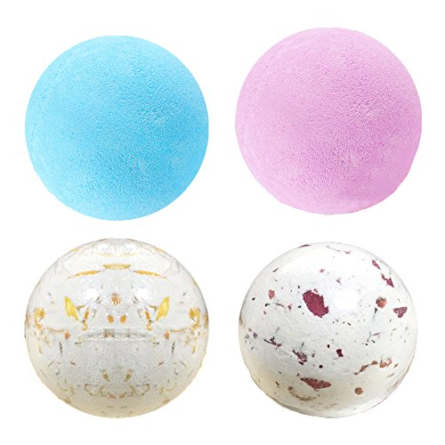 t Set - 4 Organic Essential Oil Handmade Spa Fizzies Bath Bomb, Nature Shea Butter for Moisturizing Dry Skin Relaxation in a Box (Cream Heart Shaped Gift Box)