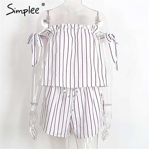 [Marius Dulles sexy white bow stripe elegant jumpsuit romper Off shoulder two piece suit overalls summer beach playsuit women outfit White] (All White Party Outfit Ideas)