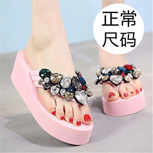 flop tacco spiaggia pantofole ladies' scarpe di diamante freddo antislittamento flip piedi moda esterna Qualità casual clip alta alto c FLYRCX estate FnwYPqHOq