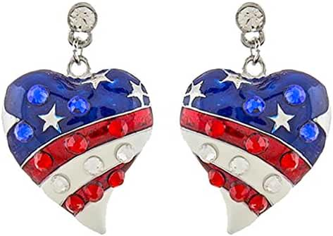 ACCESSORIESFOREVER Patriotic Jewelry American Flag Curved Heart Crystal Dangle Earrings E1211 SV