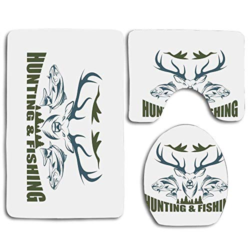 YGUII Hunting Artistic Emblem Moose Head Horns Trout Salmon Sea Fishes Olive Green Slate Blue White 3pcs Set Rugs Skidproof Toilet Seat Cover Bath Mat Lid Cover Cushions Pads