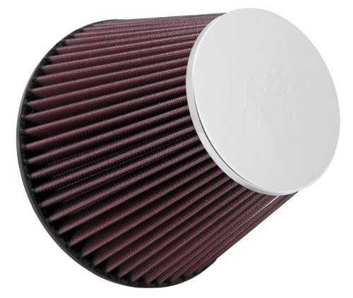 K&N RF-1048 Universal Clamp-On Air Filter: Round Tapered; 6 in (152 mm) Flange ID; 6 in (152 mm) Height; 7.5 in (191 mm) Base; 4.5 in (114 mm) Top