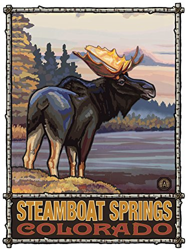 Steamboat Springs Colorado Moose Travel Art Print Poster by Paul A. Lanquist (18