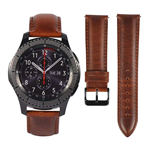 Gear S3 Frontier/Galaxy Watch (46mm) Bands with Quick Release Pins, 22mm Genuine Leather Replacement Smart Watch Band for Samsung Gear S3 Classic Smartwatch (Black & Brown with Black Clasp)