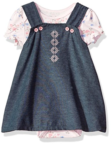 Button Strap Jumper (Rene Rofe Baby Baby Girls' Button Strap Chambray Jumper with S/s Bodysuit, Floral Pink, 18 Months)