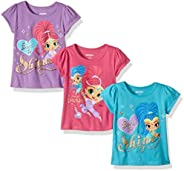 Nickelodeon Girls' Little Girls' Shimmer and Shine 3 Pack T-Shirts