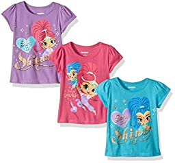 Nickelodeon Girls\' Little Girls\' Shimmer and Shine 3 Pack T-Shirts, Teal/Purple/Pink, 4
