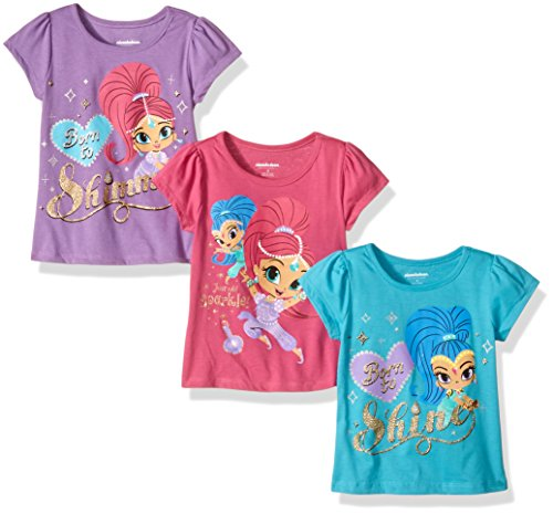 Nickelodeon Little Girls' Toddler Shimmer and Shine 3 Pack T-Shirts, Teal/Purple/Pink, 3T (Toddler Purple Character T-shirt)