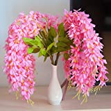 Mavee 4 Pcs 23'' Hanging Wisteria Silk Artificial Flower Bush (5 Stems) for Home, Wedding, Restaurant and Office Decoration (Pink)
